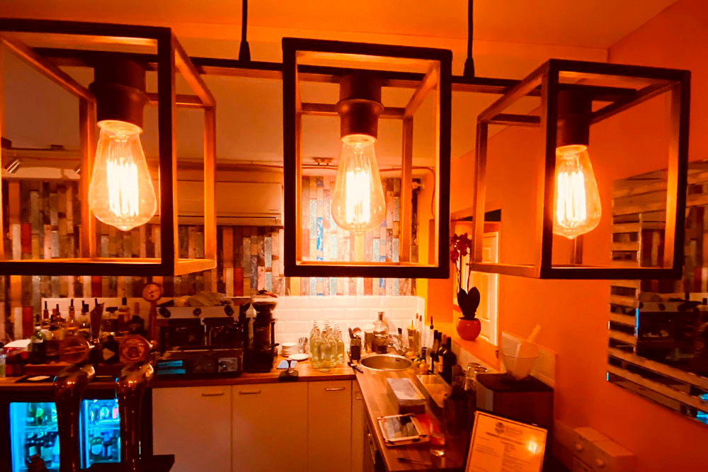 Tapas in Nottingham, Beeston, The Frustrated Chef lights